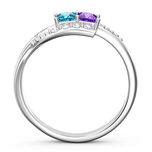 Personalized 2-5 Heart Birthstones name Ring
