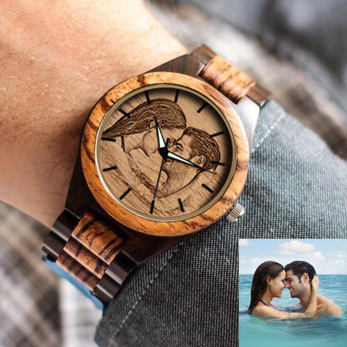 Personalized Photo Ebony Watch